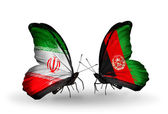 Two butterflies with flags of relations Iran and Afghanistan — Zdjęcie stockowe