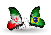Two butterflies with flags of relations Iran and Brazil — Zdjęcie stockowe