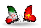 Two butterflies with flags of relations Iran and Vietnam — Stock Photo