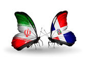 Two butterflies with flags of relations Iran and Dominicana — Stock Photo