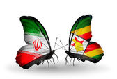 Two butterflies with flags of relations Iran and Zimbabwe — Stock Photo