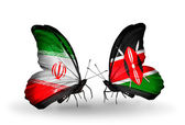 Two butterflies with flags of relations Iran and Kenya — Stock Photo