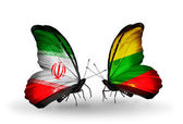 Two butterflies with flags of relations Iran and Lithuania — Stock Photo