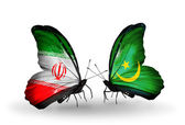 Two butterflies with flags of relations Iran and Mauritania — Foto Stock