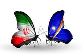 Butterflies with flags of Iran and Marshall islands — Stock Photo