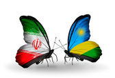 Butterflies with flags of Iran and Rwanda — Zdjęcie stockowe