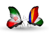 Butterflies with flags of Iran and Seychelles — Stock Photo