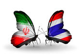 Butterflies with flags of Iran and Thailand — Stock Photo