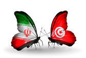 Butterflies with flags of Iran and Tunisia — Stock Photo