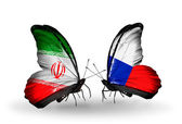 Butterflies with flags of Iran and Czech — Zdjęcie stockowe