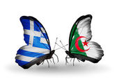 Butterflies with flags of Greece and Algeria — 图库照片