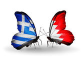Butterflies with flags of Greece and Bahrain — Stok fotoğraf