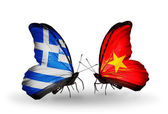 Butterflies with flags of Greece and Vietnam — Stock Photo