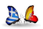 Butterflies with flags of Greece and Bhutan — Стоковое фото