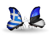 Butterflies with flags of Greece and Estonia — Stock Photo