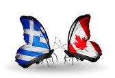 ギリシャとカナダの国旗と蝶 — ストック写真