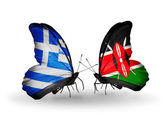 Two butterflies with flags of relations Greece and Kenya — Stock Photo