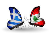 Two butterflies with flags of relations  Greece and Lebanon — Stock Photo