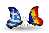 Two butterflies with flags of relations  Greece and Moldova — Stock Photo