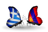 Two butterflies with flags of relations  Greece and Mongolia — Stock Photo