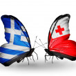 Two butterflies with flags of relations Greece and Tonga — Stock Photo #41454433