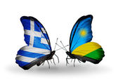Two butterflies with flags of relations  Greece and Rwanda — Stock Photo