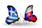 Two butterflies with flags of relations Greece and Slovakia — Stock Photo