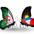 Stock Photo: Two butterflies with flags of relations Algeriand Antiguand Barbuda