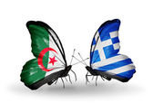 Two butterflies with flags of relations Algeria and Greece — Stock Photo