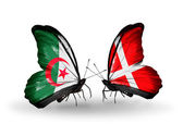 Two butterflies with flags of relations Algeria and Denmark — Stock Photo