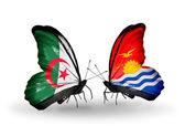 Dwa motyle z flagami stosunków, Algieria i kiribati — Zdjęcie stockowe