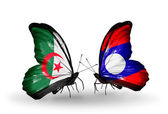 Two butterflies with flags of relations  Algeria and Laos — Stock Photo
