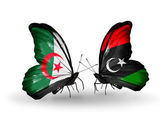 Two butterflies with flags of relations — Stock Photo