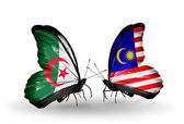 Two butterflies with flags of relations Algeria and Malaysia — Zdjęcie stockowe