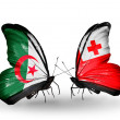 Two butterflies with flags of relations Algeriand Tonga — Stock Photo #41624777