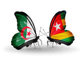 Two butterflies with flags of relations Algeria and Togo — Zdjęcie stockowe