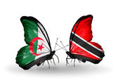 Due farfalle con le bandiere delle relazioni in algeria e trinidad e tobago — Foto Stock