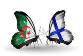 Twee vlinders met vlaggen van de betrekkingen, algerije en finland — Stockfoto