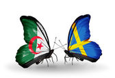 Two butterflies with flags of relations Algeria and Sweden — Zdjęcie stockowe