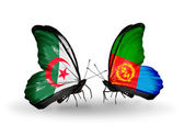 Two butterflies with flags of relations Algeria and Eritrea — Stock Photo