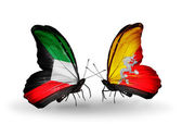 Two butterflies with flags of relations Kuwait and Bhutan — Stock Photo