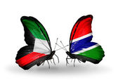 Two butterflies with flags of relations Kuwait and Gambia — Stock Photo