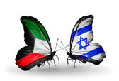 Two butterflies with flags of relations Kuwait and Israel — Stock Photo
