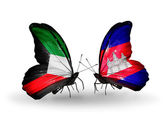 Two butterflies with flags of relations Kuwait and Cambodia — Stock Photo