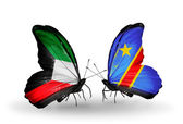Two butterflies with flags of relations Kuwait and Kongo — Stock Photo