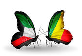 Two butterflies with flags of relationsKuwait and Kongo — Zdjęcie stockowe