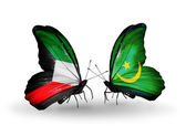 Two butterflies with flags of relations Kuwait and Mauritania — Stock Photo