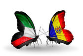 Two butterflies with flags of relations Kuwait and Moldova — Zdjęcie stockowe
