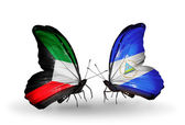 Two butterflies with flags of relations Kuwait and Nicaragua — Stock Photo