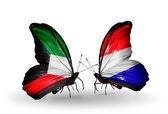 Twee vlinders met vlaggen van betrekkingen Koeweit en holland — Stockfoto